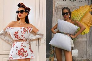 Võ Hoàng Yến, Minh Tú biến tấu trào lưu lấy gối làm váy đầy hài hước