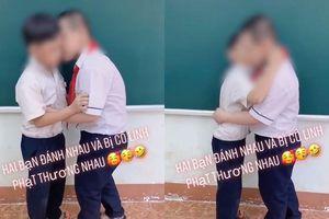 Tranh cãi gay gắt xoay quanh clip cô giáo phạt hai học sinh nam ôm hôn nhau làm hòa