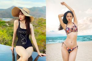 Hương Giang lộ thân hình gầy gò khi diện bikini, váy áo ngắn tay