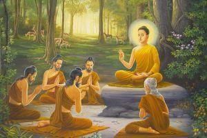 Đức Phật quán nhân duyên giáo hóa năm ẩn sĩ Kiều Trần Như