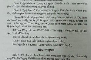 Công ty Trang Huy chây ỳ trong việc chấp hành quyết định xử phạt hành chính