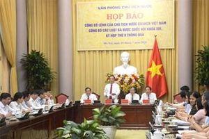 Công bố 10 luật được thông qua tại Kỳ họp thứ chín (Quốc hội khóa XIV)