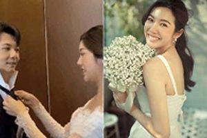 Khoe hậu trường chụp ảnh cưới, Thúy Vân 'gây sốt' với hành động cực ngọt ngào dành cho ông xã