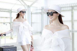 Phan Thị Mơ diện cây đồ hiệu trắng tinh sáng bừng cả sân bay
