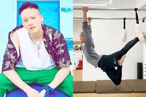 Nam ca sĩ Hàn Quốc treo mình trên không để có cơ thể săn chắc