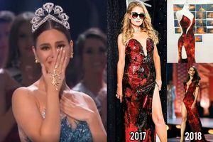 Sau 2 năm càn quét, váy núi lửa phun trào của Catriona Gray bất ngờ bị tố đạo nhái 'gái hư' Paris Hilton