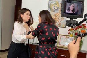 Hậu trường cảnh Lã Thanh Huyền đánh ghen trong phim