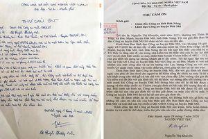 Người dân gửi 2 lá thư cảm ơn Công an tỉnh Đắk Nông