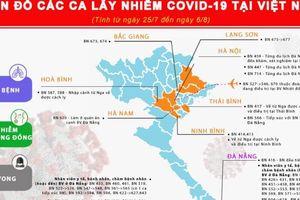 Infographic: Cập nhật bản đồ lây nhiễm Covid-19 tại Việt Nam ngày 7/8