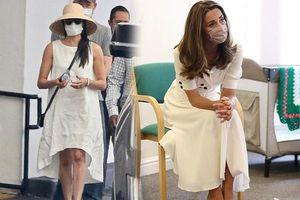 Cùng diện đầm trắng, nhưng Công nương Kate thời thượng ăn đứt em dâu nhờ 1 chiếc khẩu trang