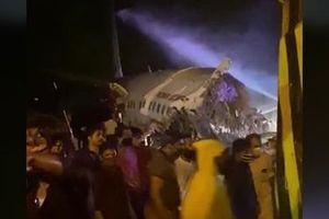 Kinh hoàng máy bay Ấn Độ trượt đường băng gãy đôi, hàng trăm người thương vong
