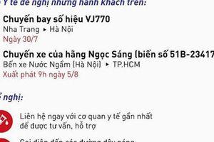 Bộ Y tế tìm hành khách trên chuyến bay VJ770 từ Nha trang đến Hà Nội (ngày 30/7) và xe khách Ngọc Sáng từ Hà Nội đi TPHCM (ngày 5/8)