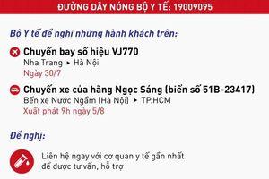 Covid-19 ở Việt Nam: Bộ Y tế tìm người đi máy bay VJ770 ngày 30/7 và nhà xe Ngọc Sáng vào TP.HCM ngày 5/8
