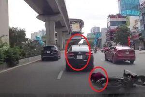 Phẫn nộ ôtô vượt ẩu tông ngã phụ nữ đi xe máy rồi bỏ trốn