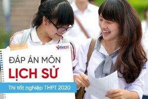 Đáp án chính thức môn Lịch sử thi tốt nghiệp THPT 2020