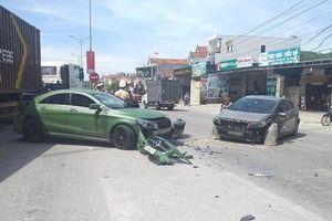 Xe ben gây tai nạn liên hoàn với xe Mercedes rồi bỏ chạy