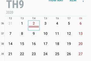 Lịch nghỉ chính thức ngày Quốc khánh 2-9-2020