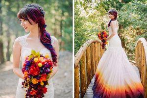 Cô gái bất ngờ nổi tiếng nhờ nhuộm 7 sắc cầu vồng lên váy cưới