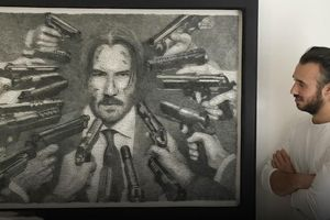 Vẽ chân dung John Wick từ 12.000 chiếc đinh