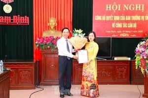 Công bố quyết định nhân sự của Thường vụ Tỉnh ủy Nam Định