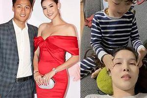 Kỳ Hân (vợ Mạc Hồng Quân) bị đau nửa đầu ở tháng thứ 7 thai kỳ, được con trai xoa trán 'nịnh' cực đáng yêu