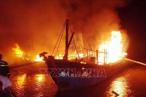 Cháy 5 tàu cá tại cảng Lạch Quèn