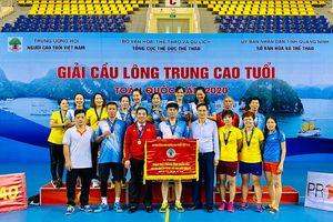 Quảng Ninh đoạt giải Ba toàn đoàn Giải Cầu lông trung, cao tuổi toàn quốc năm 2020