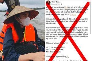 Mạo danh ca sĩ Thủy Tiên kêu gọi tiền ủng hộ miền Trung