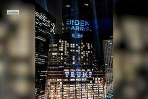 Logo kêu gọi bỏ phiếu cho ông Biden bất ngờ xuất hiện trên tháp Trump