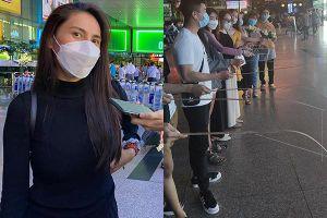 Thủy Tiên gầy rộc trở về nhà, fan mang cần câu ra đón ở sân bay