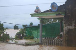 Đại hồng thủy nhấn chìm nhà cửa, dân Quảng Bình ngồi trên mái nhà cầu cứu