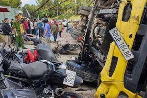 Lâm Đồng: Xe tải 'trôi' tự do tông nát hàng loạt xe máy, một người bị thương