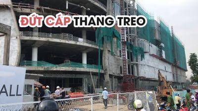 Đứt cáp thang treo công trình trung tâm thương mại, nhiều người bị thương