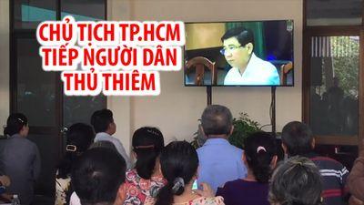 Chăm chú theo dõi Chủ tịch TP.HCM tiếp dân Thủ Thiêm qua màn hình