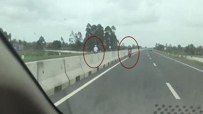 Lái xe máy ngược chiều trên đường cao tốc, hành vi 'tự sát' của người tham gia giao thông