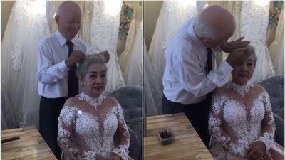 Xúc động clip cụ ông giúp cụ bà trang điểm để chụp ảnh kỷ niệm 50 năm ngày cưới