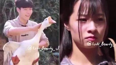 Thanh niên bắt ngỗng làm điều bất ngờ tặng bạn gái xinh đẹp