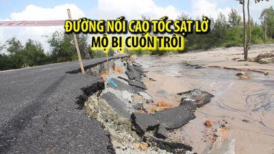 Đường nối lên cao tốc Đà Nẵng - Quảng Ngãi sạt lở nghiêm trọng