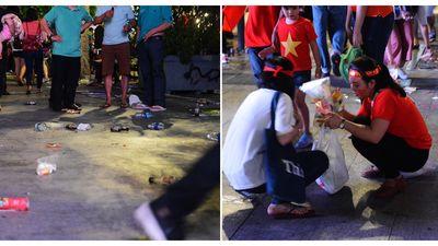 Bão 'rác' sau chung kết Việt Nam - Malaysia và hành động đẹp của người Sài Gòn