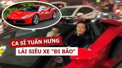 Tuấn Hưng lái siêu xe 15 tỉ 'đi bão' mừng Việt Nam chiến thắng