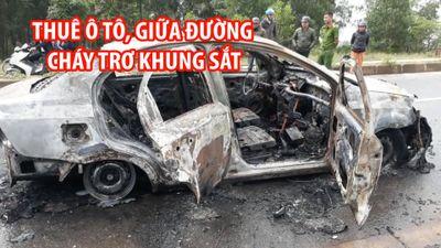 Tung cửa phóng ra khỏi ô tô đang cháy, đôi nam nữ thoát chết