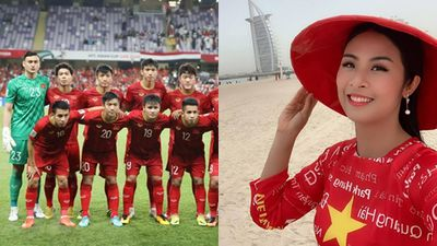 Diện áo dài in tên cầu thủ tại Dubai, Ngọc Hân hào hứng dự đoán tuyển Việt Nam thắng Nhật Bản 1 - 0