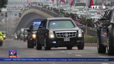 Đoàn xe 'quái thú' của Tổng thống Trump trên đường phố Hà Nội