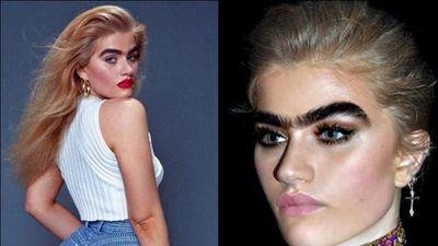Thời trang gợi cảm của người mẫu có cặp lông mày sâu róm