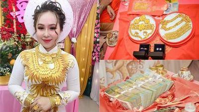 Mới dạm ngõ, cô dâu đã đeo 13 cây vàng trĩu cổ, khoe hồi môn khủng
