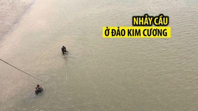 Đang chở vợ, người đàn ông nhảy cầu ở đảo Kim Cương