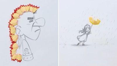 Ý tưởng vẽ sáng tạo từ vỏ gọt bút chì