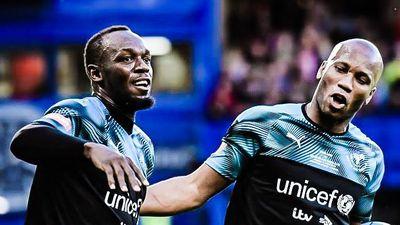 Usain Bolt ghi bàn đẹp mắt trong ngày đá cặp cùng Drogba