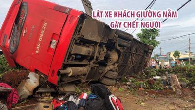 Kinh hoàng khoảnh khắc lật xe khách giường nằm gây chết người ở Đắk Lắk