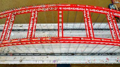 Cầu hình cánh chim biển ở Hải Phòng nhìn từ trên cao